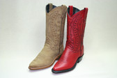 Abilene Boots Brown Nubuck Western  and  Red Western Featuring Hand Laced Accents with Genuine Leather Outsole,