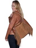 Leather and suede fringe handbag