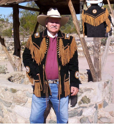 "Jeremiah ""Buck"" Johnson Suede Fringed Beaded Jacket Native American Indian Designed"