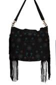 Black suede fringe and beaded handbag