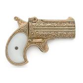 Old West Replica 1866 Brass Finish Double Barrel Derringer Non-Firing Gun