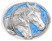 Horse Heads enameled buckle