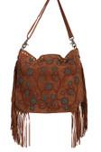Suede fringe and beaded handbag