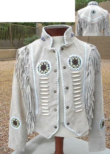BEIGE LADIES ALL SUEDE JACKET WITH FRINGE AND BEADWORK.