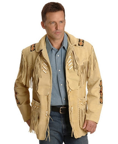 GERONIMO SOFT BUFFALO SKIN SUEDE LEATHER FRINGED AND BONED JACKET