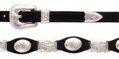 Black leather scalloped hatband with silver CONCHOS