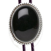 BLACK ONYX STONE BOLO TIE ROPE DESIGN MOUNTING