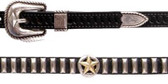 Black leather hatband with two-tone star conchos, silver tone bullet conchos and antique silver tone buckle set