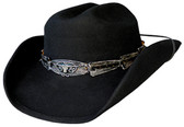 BLACK WOOL FELT Cowboy Hat WITH LONGHORN CONCHO