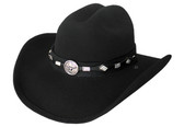 BLACK WOOL FELT WITH BLACK Cowboy Hat BAND WITH LONGHORN CONCHO IN THE MIDDLE.