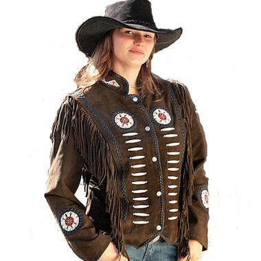 Brown Suede Boned Fringed Ladies Jacket