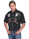 Skull and Roses Embroidered Western Shirt
