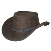 Buffalo Skin Knoted Cowboy Hat Band Leather Cowboy Hat