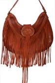 Brown Leather fringe and studded handbag