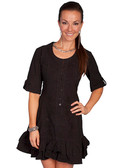 100% Peruvian Cotton 3/4 Sleeve Dress. Lace-Up Back, Soutache Design In Front.