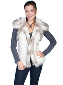 Fashionable Off White Faux Fur Vest
