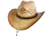 COUNTRY PINCHED FRONT CROTCHED WEAVE WITH CHIN CORD, CONCHO Cowboy Hat BAND.