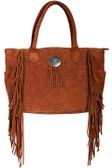 Authentic leather fringe and studded handbag