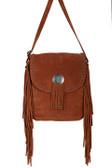 Crossbody leather fringe and studded handbag