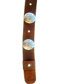 Dark brown leather Hat Band with silver conchos