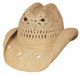 Des Moines straw cowboy hat by Bullhide® Hats.  Available in sizes S-M / L-XL.  Beige or Pink