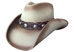 241dfbbdc6be6 DISTRESS SOFT CRUSHABLE WOOL FELT Cowboy Hat WITH EYESHAPED CONCHOS.