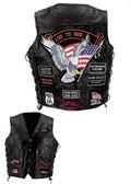 Diamond Plate™ Rock Design Genuine Buffalo Leather Vest UP TO 5XL