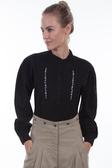 Black Inset Bib Shirt