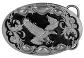 "Flying Eagle Enamel Belt Buckle 3-1/2"" x 2-1/4"" Made in USA"