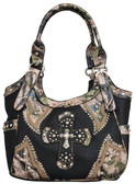 Angel Ranch Black & Camo Purse with Cross
