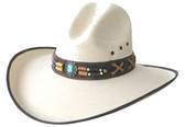 FINE WHITE PALM LEAF Cowboy Hat, GUS STYLE WITH BROWN EDGE AND BROWN LEATHER Cowboy Hat BAND AND TURQUOISE OVAL CONCHO IN THE FRONT.