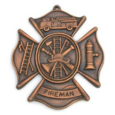 Fireman's Shield Wall Plaque with Antique BRASS Finish 8 X 9