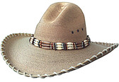 FINE WHITE SOFT PALM, BURNT GUS STYLE WITH BEIGE STITCHING AND WIDE BEADED Cowboy HatBAND.