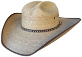 FINE SEMI BURNT PALM Cowboy Hat WITH X Cowboy Hat BAND AND BROWN BOUND EDGE AND SOFT SWEAT BAND