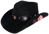 FINE, CRUSHABLE, WIRED EDGE WOOL FELT WITH EMBROIDERED PINK ROSE ON LEATHER PATCH AND ROSE CONCHOS ON LEATHER Cowboy Hat BAND.