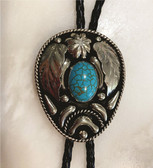 German Silver & with Natural Stone Turquoise Bolo Tie