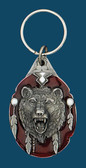 Grizzly Bear Head Key RIng, Enamel