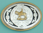 "Horse & Rider German Silver Buckle/Black Trim, 4"" x 3"""