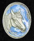 Horsehead Bolo Tie, Blue Enamel