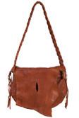 Natural edge flap soft leather handbag