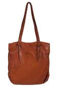 Double shoulder straps with cross stitch soft leather handbag