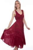 Burgundy Full Length Lace-up Front Sleeveless Dress