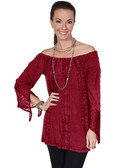 LADIES Burgundy Off the Shoulder Embroidered Pullover Blouse