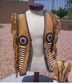 LADIES NATIVE CHIEF BEADED VEST