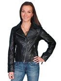 LADIES BLACK MOTORCYCLE JACKET 62367