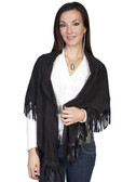 LADIES BLACK LAMB SUEDE SHAWL 62348
