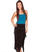 Black Suede Fringe Ladies Skirt