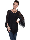 LADIES Black Sheer Fringe Blouse