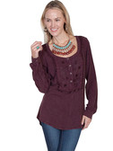 LADIES Pullover Blouse with Tonal Embroidery & Lacing Around Collar & Inset Bib