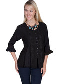 LADIES Tonal Embroidered Front and Tie Back Blouse